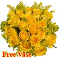 24 Radiant Yellow Roses in a Bouquet